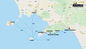 Mappa itinerario Crociere sulla Costiera Amalfitana e Ischia