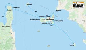 Mappa itinerario crociere all'Isola d'Elba e Corsica