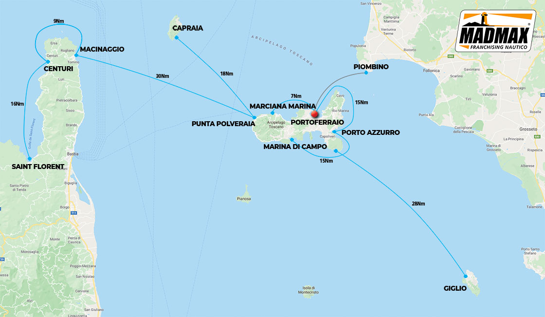 Cruises itinerary map on Elba and Corsica