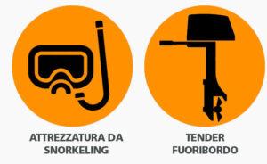 Attrezzatura Snorkelling + Tender Fuoribordo