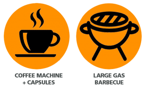 coffee machine + capsules, large gas barbecue