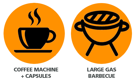icon with cup of coffee and barbecue