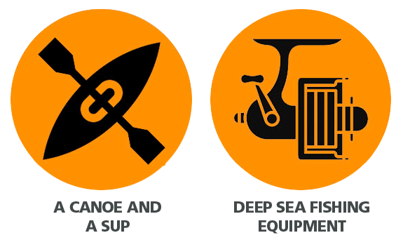 icon with canoe and deep sea fishing equipment