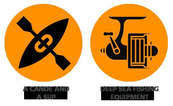 icon with canoe and deep sea fishing equipment