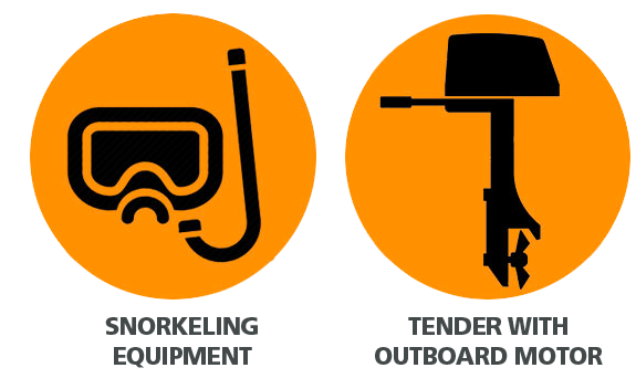 icon with snorkeling equipment and outboard motor
